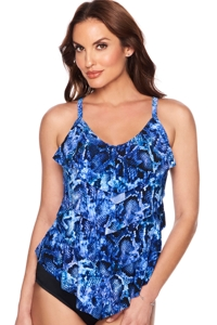 Trimshaper by Magicsuit Python Lena Ruffle Tiered Tankini Top