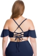 Becca ETC by Rebecca Virtue Indigo Color Splash Flounce Off the Shoulder Ruffle Plus Size Bikini Top