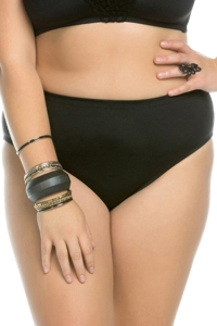 Becca ETC by Rebecca Virtue Plus Size Black Beauties Full Coverage BIkini Bottom