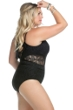 Becca ETC by Rebecca Virtue Plus Size Black Color Play Sheer Cut Out One Piece Swimsuit