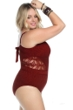 Becca ETC by Rebecca Virtue Plus Size Henna Color Play Sheer Cut Out One Piece Swimsuit