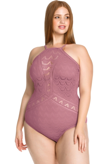 Becca ETC by Rebecca Virtue Mauve Color Play Lace High Neck Plus Size One Piece Swimsuit
