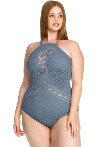 Becca ETC by Rebecca Virtue Steel Color Play Lace High Neck Plus Size One Piece Swimsuit