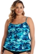 Caribbean Joe Plus Size Magical Mystery Blouson Tankini Top