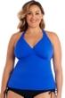 Caribbean Joe Plus Size Blue Chevron Texture H-Back Halter Tankini Top