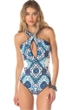 Becca by Rebecca Virtue Inspired Cross Over High Neck One Piece Swimsuit