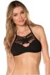 Becca by Rebecca Virtue Electric Current Solid Black Macrame Halter Bikini Top