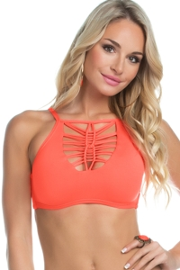 Becca by Rebecca Virtue Electric Current Persimmon D-Cup Macrame High Neck Bikini Top