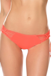 Becca by Rebecca Virtue Electric Current Persimmon Macrame Hipster Bikini Bottom