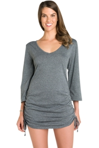 Eco Swim Solid Grey Adjustable Side Shirred Tunic