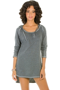 Eco Swim Solid Grey Hooded Long Sleeve Tunic