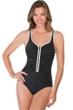 Chlorine Resistant Reebok Zig Zag Zip Front One Piece Swimsuit