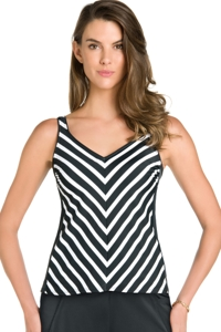 Chlorine Resistant Active Spirit Stripe of Genuis V-Neck Tankini Top