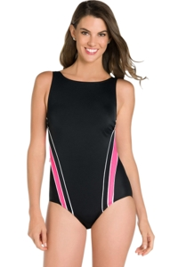 Chlorine Resistant Active Spirit Slide Tide High Neck One Piece Swimsuit
