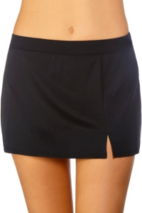 Caribbean Joe Black Side Slit Swim Skirt