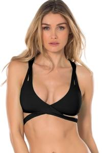 Becca by Rebecca Virtue Black Color Code F-Cup (DDD-Cup) Wrap Halter Bikini Top