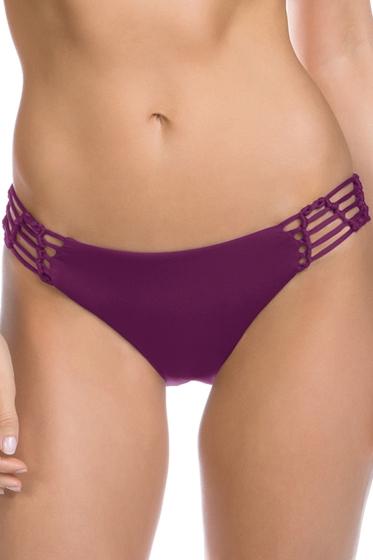 Becca by Rebecca Virtue Raisin No Strings Attached Macrame Tab Side American Hipster Bikini Bottom