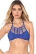 Becca by Rebecca Virtue Azure No Strings Attached Macrame High Neck Bikini Top