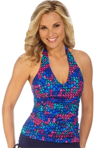 Caribbean Joe Lyte Bryte Shirred Halter Tankini Top