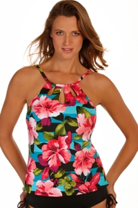 Caribbean Joe Uptown Girl Cut Out High Neck Underwire Tankini Top
