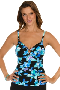 Caribbean Joe Martinique Ring Front Tankini Top