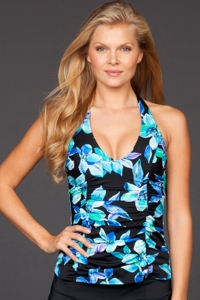 Caribbean Joe Martinique Shirred H-Back Tankini Top
