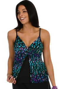 Caribbean Joe Illuminations Mesh Fly Away Tankini Top