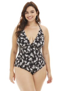 La Blanca Black and White Petal Pusher Plus Size Halter One Piece Swimsuit