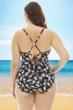 La Blanca Black and White Petal Pusher Plus Size Halter One Piece Swimsuit
