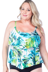 Maxine of Hollywood Teal Palm Beach Plus Size Tankini Top