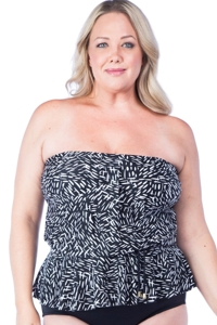 Maxine of Hollywood Black and White Rain Dance Plus Size Peplum Tankini Top
