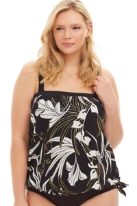 Maxine of Hollywood Black and White Deco Plus Size Blouson Tankini Top