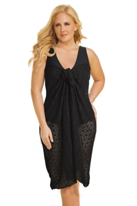Always For Me Clipped Jacquard Black Plus Size Long Pareo Cover Up