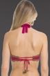 Becca by Rebecca Virtue Raspberry Medina Crochet Halter Bikini Top Up to D-Cup
