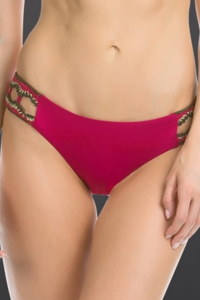 Becca by Rebecca Virtue Raspberry Medina Crochet Tab Side American Hipster Bikini Bottom