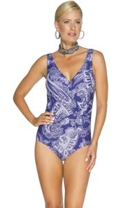 TOGS Purple Metallic Surplice One Piece Swimsuit