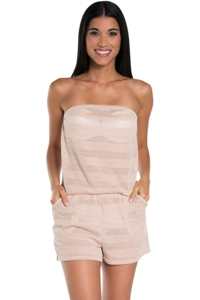 Jordan Taylor Beige V-Neck Stripe Burn Out Romper