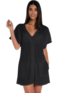 Jordan Taylor Black Braided Chevron Button Up Tunic