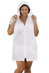 Jordan Taylor Plus Size White Braided Chevron Zip Up Hoodie