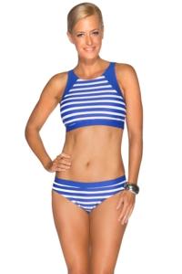 TOGS Cobalt Stripe High Neck Crop Bikini Set