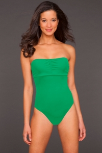 Phax Green Color Mix Underwire Bandeau One Piece Swimsuit