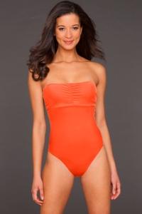 Phax Orange Color Mix Underwire Bandeau One Piece Swimsuit
