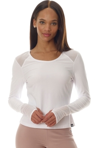 X by Gottex White Mesh Long Sleeve Performance Top