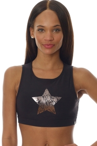 X by Gottex Black Chrome Star Mesh High Neck Low Impact Sports Bra
