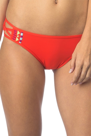Bikini Lab Bright Eyed Girl Embroidered Hipster Bikini Bottom