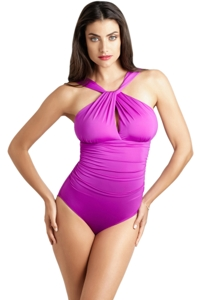 Badgley Mischka Orchid Draped High Neck One Piece Swimsuit