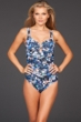 Badgley Mischka Floriana V-Neck Shirred U-Wire One Piece Swimsuit