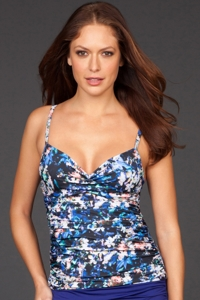 Badgley Mischka Floriana Shirred Underwire Tankini Top
