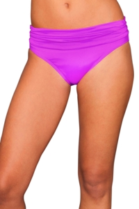 Badgley Mischka Orchid Shirred Waist Brief Swim Bottom
