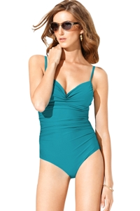 Badgley Mischka Peacock Shirred Underwire One Piece Swimsuit